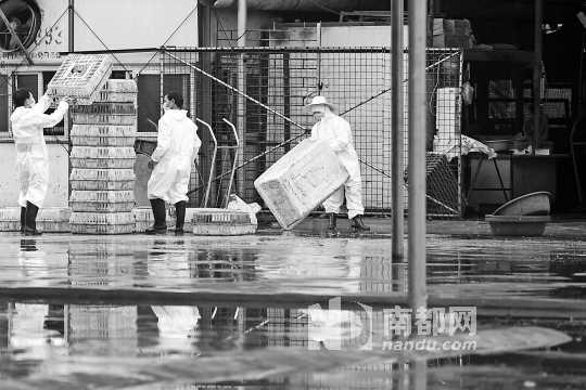 5月16日,增城荔城富力市场关闭,工作人员在市场内进行消毒。 南都记者黎湛均实习生 吴明 摄