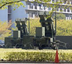 """部署在东京市谷防卫省院内的地对空拦截导弹""""爱国者-3""""。"""
