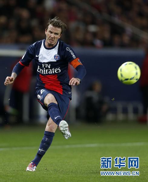 5月18日,巴黎圣日耳曼队球员大卫·贝克汉姆在