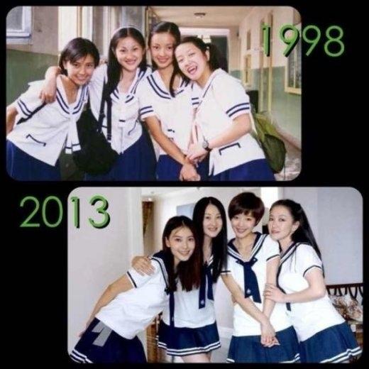 高圆圆/5月15日,内地女演员高圆圆在微博晒出两张照片,一张是1998年...