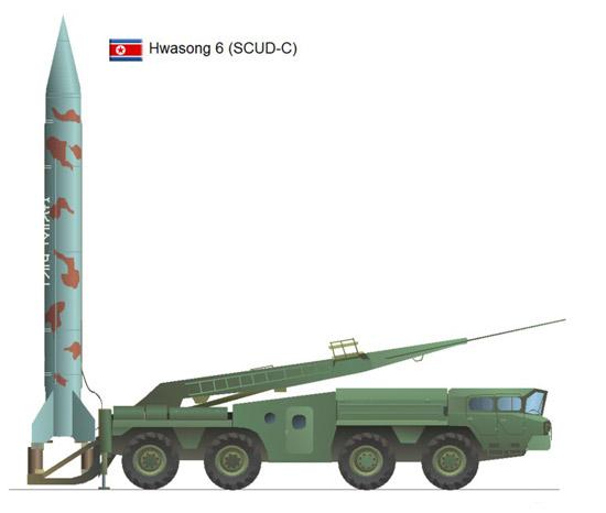 """朝鲜""""飞毛腿""""C型弹道导弹效果图。"""