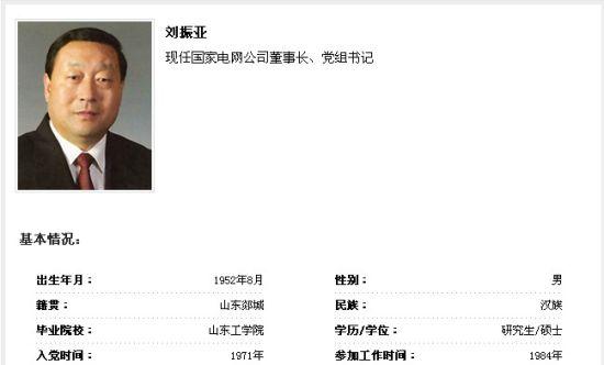刘振亚任国家电网公司董事长 舒印彪任总经理