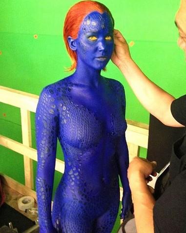 劳伦斯 X战警前传2 造型曝光 全身涂满蓝色