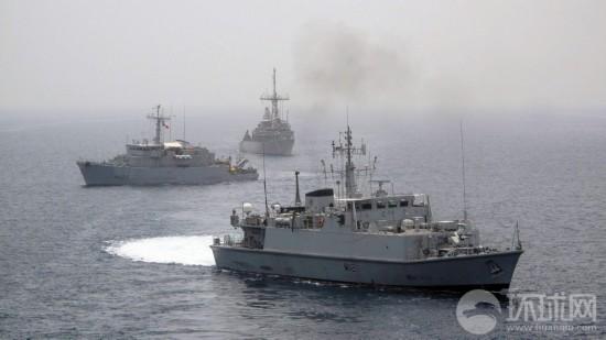 庞塞/美率40国海军波斯湾扫雷突然碰上伊朗战舰(组图)