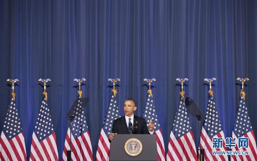 5月23日,美国总统奥巴马在位于首都华盛顿的国防大学发表演讲。