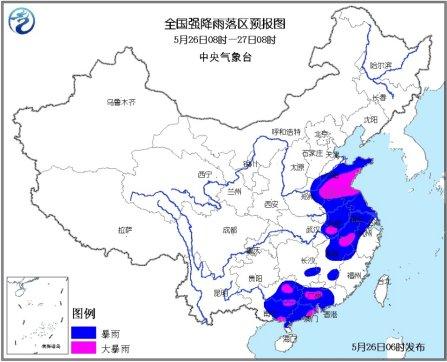 中新网5月26日电中央气象台最新天气预报显示,未来三天,黄淮及其以南大部有强降雨,新疆西南部有明显降水。