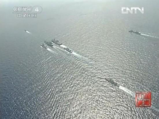 原文配图:中国海军三大舰队南海实兵对抗。