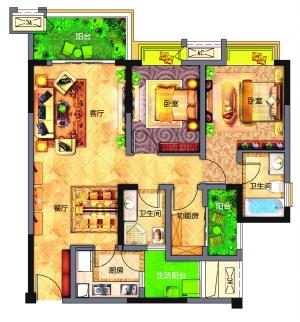 客厅餐厅厨房卫生间功能房阳台卫生间卧室卧室阳台生活阳台