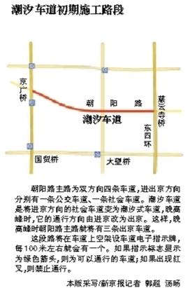 朝阳路傍晚增出京车道