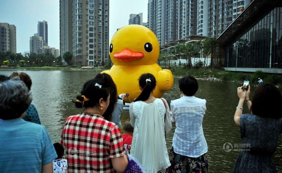 """迷你版橡皮""""大黄鸭""""亮相天津社区(高清)"""