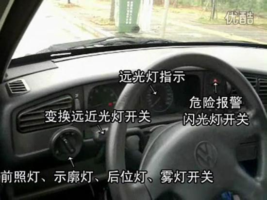 驾考车灯位置图解 驾考车灯标识图解 驾考车灯标志图解高清图片