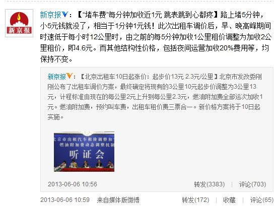 北京出租车高峰期等5分钟4.6元 跳表跳到心疼(图片来自微博)