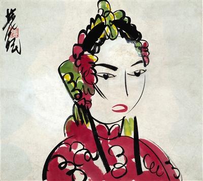林风眠在约上世纪40年代创作的 女半身像