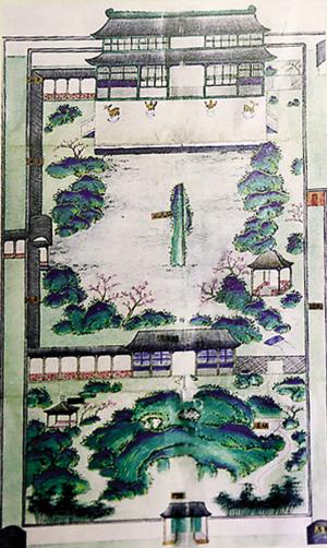 清代彩绘《文澜阁平面图》