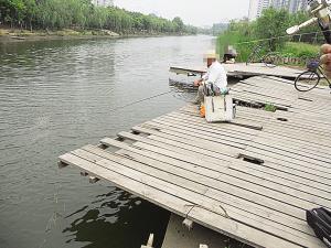 亲水平台很受伤 挪动木板为钓鱼(图)