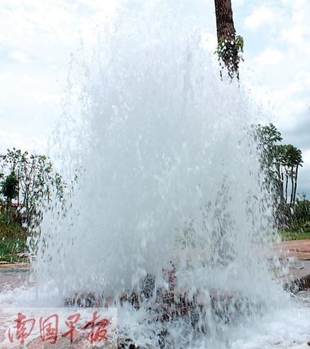 喷出来的水柱有五六米高。