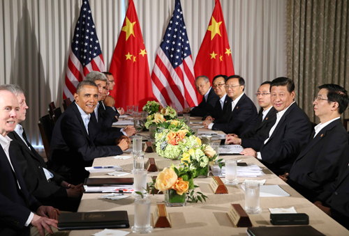 6月8日,国家主席习近平在美国加利福尼亚州安纳伯格庄园同美国总统奥巴马举行中美元首第二场会晤。 新华社记者 姚大伟 摄