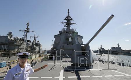 """日本自卫队6月10日开始在美国加利福尼亚州圣地亚哥与美军举行联合夺岛演习。照片为参加演习的海上自卫队宙斯盾舰""""爱宕""""号。"""