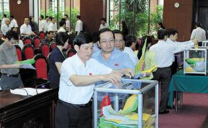 10日,越南国会对47名最高层官员进行信任投票。