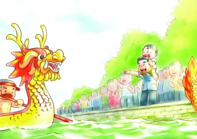 """清新 南京/南京男子手绘六幅漫画演绎儿时""""端午一天""""(组图)"""