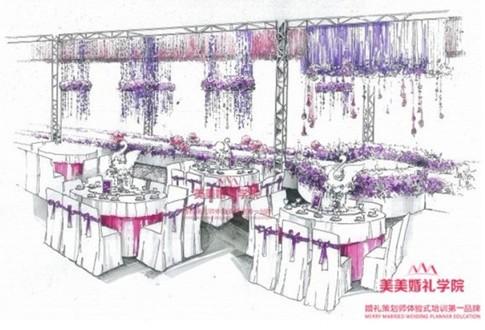 婚礼请帖手绘图; 美美策划:专业,专注; 美美婚礼策划师培训首创的婚礼