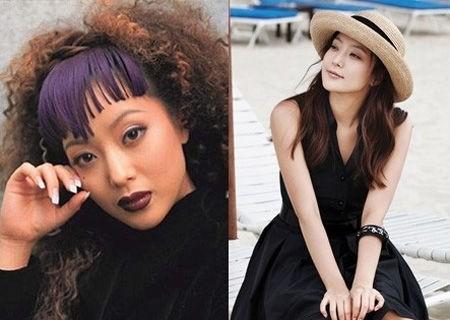 韩国第一美女也有雷人的时候,爆炸头与浓妆的金喜善像是在极力装嫩的大妈;而轻薄的韩式妆容与简单的草帽、休闲连衣裙则让金西山犹如少女一般。