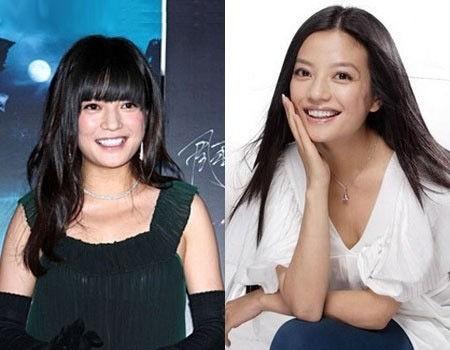 赵薇的长直发看起来很清爽,但是齐刘海微卷则看起来脸很大。