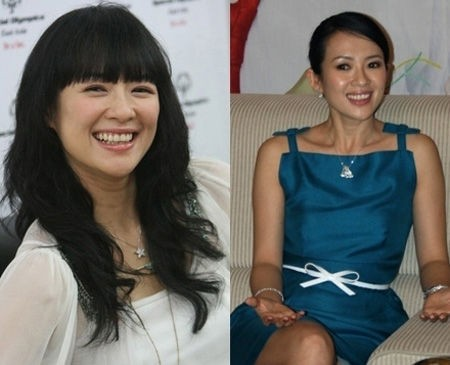 齐刘海让章子怡一点国际感都没有了,倒是更像村姑了。