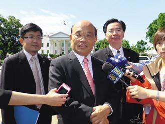 """正在美国走访的民进党主席苏贞昌声称,不愿将台湾纳入""""一中框架""""。 图片来源:台湾《联合晚报》"""