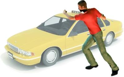 1 1 在安居西路和怡康路交会处抢劫一辆的士,撞上路边轿车,熄火