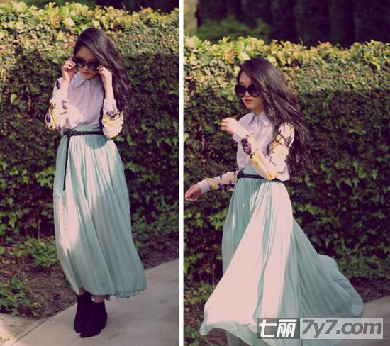 欧美最新裙装街拍:半身长裙飘逸优雅(组图)