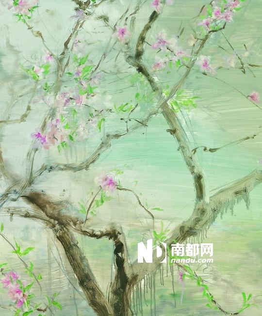 桃花树枝简笔画黑白