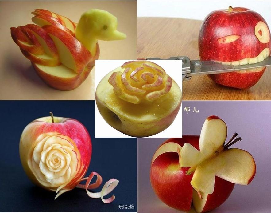 创意雕刻水果之苹果,虽然它体积小,但做出来的造型却更显精致.图片