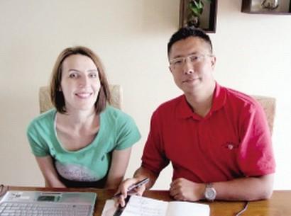 李阳和妻子(资料图)
