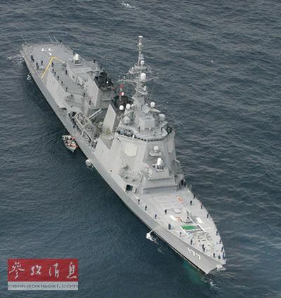 """图为日本海上自卫队""""宙斯盾""""导弹驱逐舰""""爱宕""""号。新华/法新"""