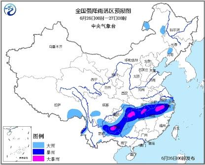 中新网6月26日电据中国气象局网站消息,针对长江中下游将继续出现的强降雨和强对流天气,中央气象台26日6时继续发布暴雨黄色预警,中国气象局于26日8时40分启动级应急响应。