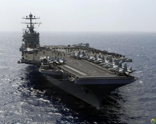 """资料图:美军核动力航母""""乔治华盛顿""""号"""