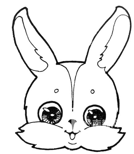 这只小兔子为简笔画画法,有两只尖尖的耳朵,一个圆圆的脑袋.