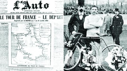 法国当地报纸在1903年刊登的首届环法时的图片.-走出阴影,环法大