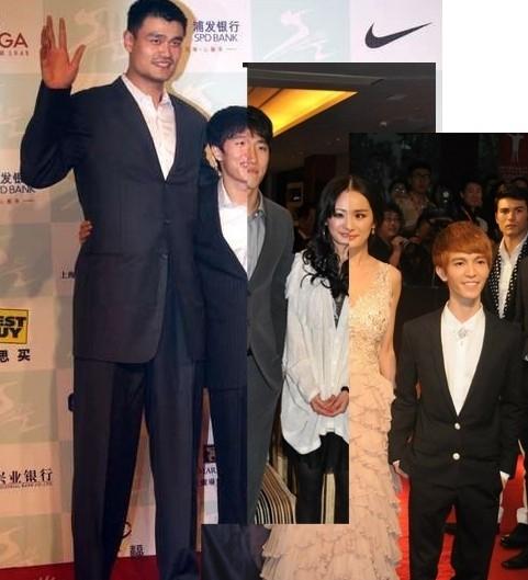 网友PS姚明郭敬明身高对比图:裤腰不至于能到肚脐眼-网友PS姚明