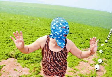 """7月3日,山东青岛高温来袭,为防晒,""""青岛大妈""""戴着""""强盗面罩""""在海水"""