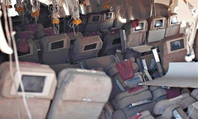 7日,美国国家运输安全委员会拍摄的失事客机内部图。