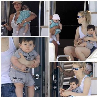 梅西/当梅西在美国踢慈善赛时,他的女友安东内拉带着儿子蒂亚戈,...