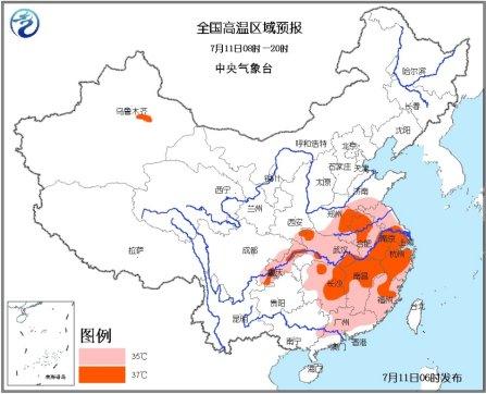 江南江淮等地持续高温 皖豫渝最高温达39℃