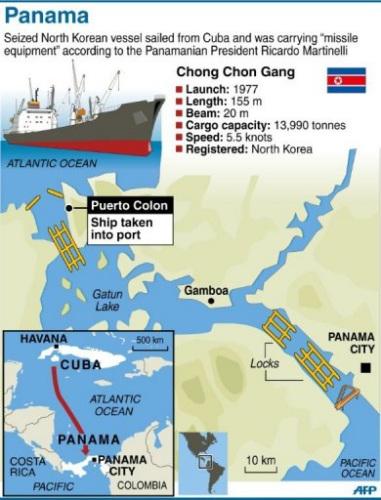 朝方船只在试图驶过巴拿马运河时被拦截
