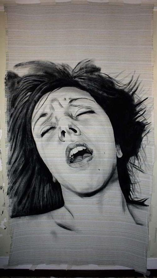 艺术家创作男女高潮面部表情