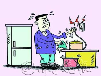 不要用湿手插拔电器插头,接触带电的电器或电线,也不要用湿布擦抹带电图片