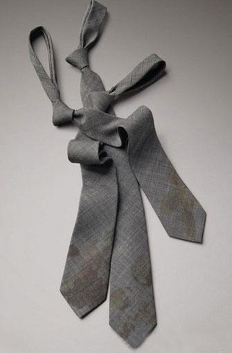 铁灰色羊毛印花领带