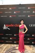 幻灯:杜威旧爱红色长裙展婀娜 芊芊细腰身材棒