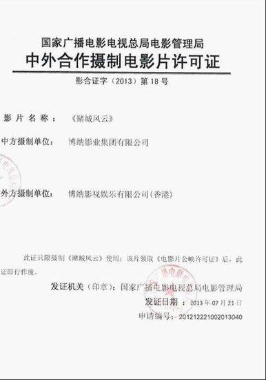 王晶公布《赌城风云》拍摄许可证